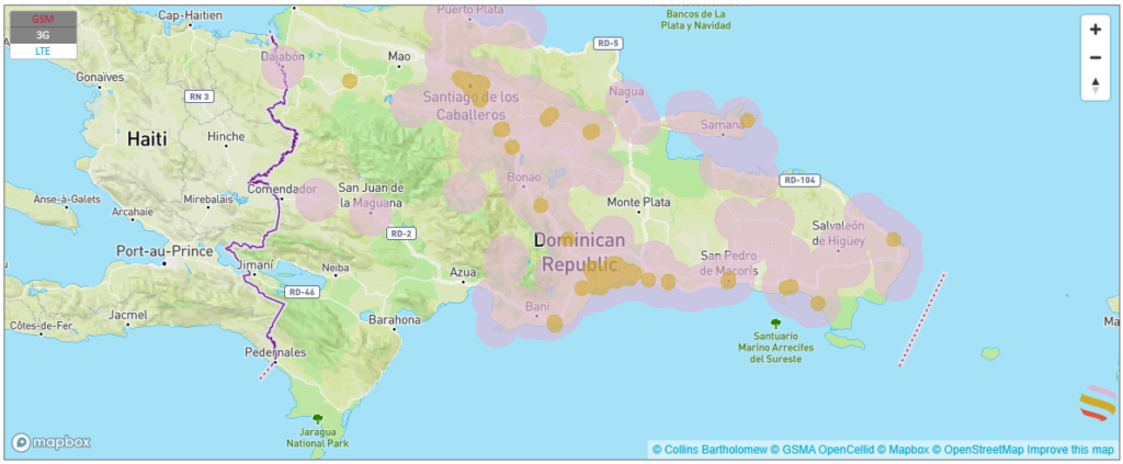 coverage map with an esim in the dominican republic.